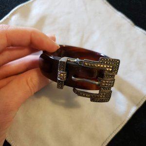 Sterling Vintage Buckle Belt Bracelet Tortoise